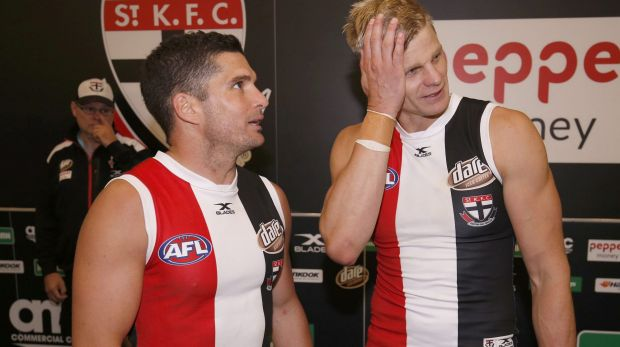 Dynamic duo: Veteran stars Leigh Montagna and Nick Riewoldt after the win.