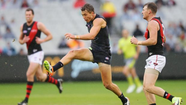 Putting the boot in: Carlton's Patrick Cripps.