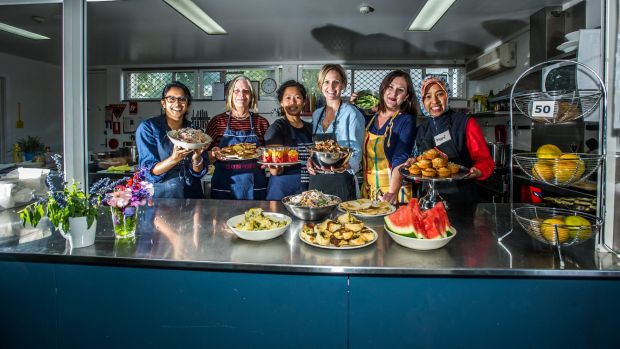 Canteen staff at the Ainslie school Su Suren, Diane Bugg, manager Ari Hansell, Willow Condi, Marita Johnston and Nani ...