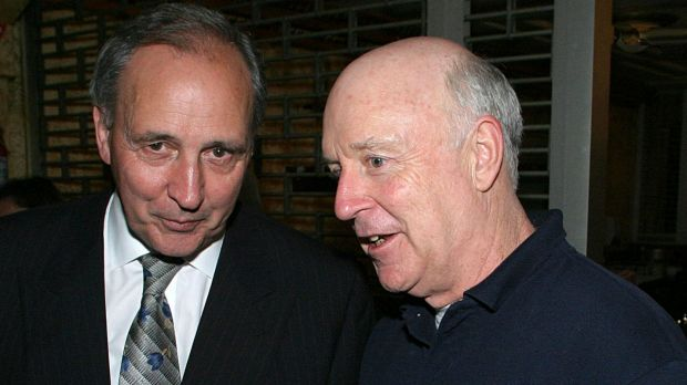 Paul Keating and John Clarke at the after party for Keating, the musical in Melbourne.