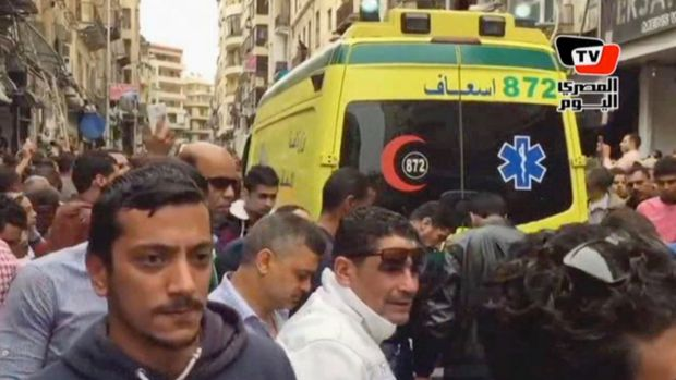 An ambulance outside Saint Mark's Cathedral following a suicide bombing that killed several people, just after Coptic ...