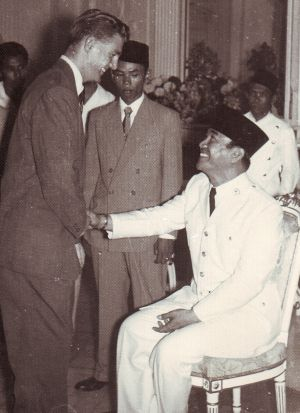 Ian Stewart greets Indonesia's president Sukarno, who was imposing his authority in a tumultuous transition in the mid-1950s.