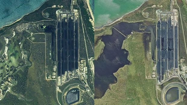Satellite images of the Abbot Point coal terminal and neighbouring wetlands. Before Cyclone Debbie on the left and ...
