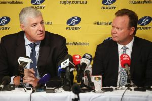 Complications: ARU chairman Cameron Clyne and chief executive Bill Pulver speak to the media in April.