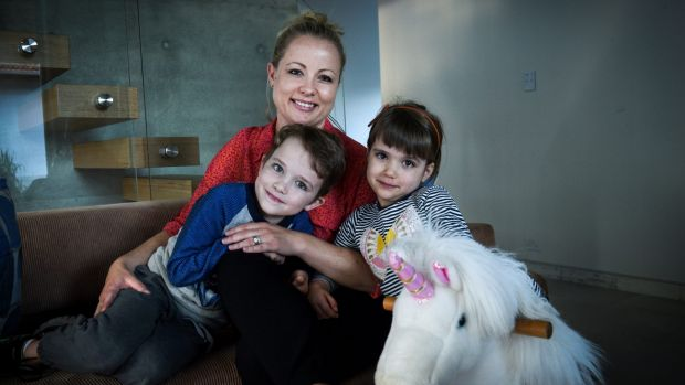 """It's an archaic stereotype"": Alison Boston with her son Wesley and daughter Sadie."