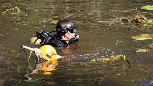 Divers from Queensland Police and the Australian Defence Force searched the Deagon Wetlands in April.