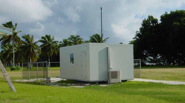 An innocuous looking building on Cocos Island housing a monitoring station