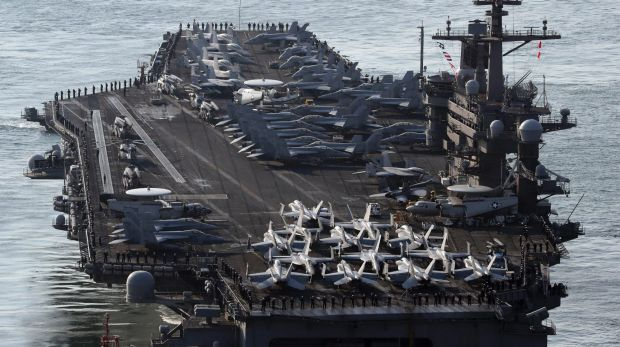 US Navy aircraft carrier the USS Carl Vinson.