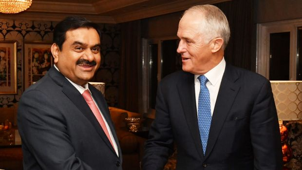 Prime Minister Malcolm Turnbull met India's Adani Group founder and chairman Gautam Adani in New Delhi.