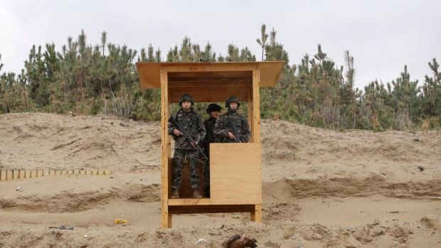 South Korean marine soldiers stand guard during joint US-South Korea exercises in Pohang, South Korea on Tuesday.
