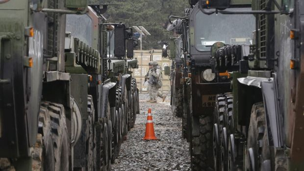 US soldiers patrol during a US-South Korea joint exercise  in Pohang, South Korea, on Tuesday.