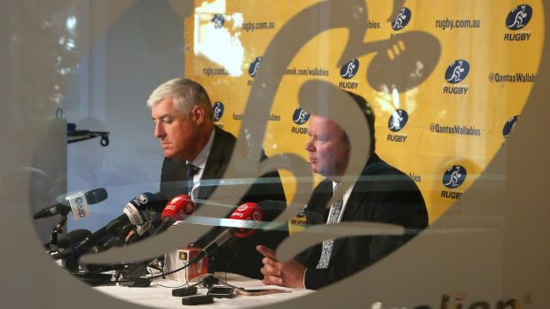 Where to next for Australian rugby? ARU Chairman Cameron Clyne (left) and CEO Bill Pulver face big questions.