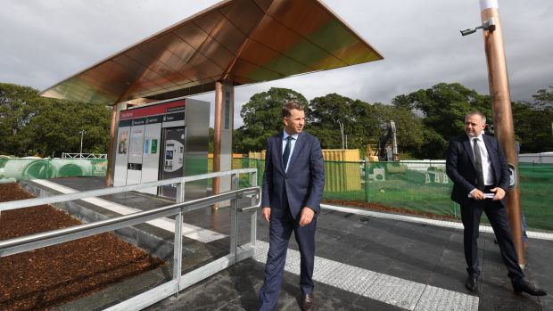 Transport Minister Andrew Constance, left, and Grimshaw Architects partner Andrew Cortese at the unveiling of a ...
