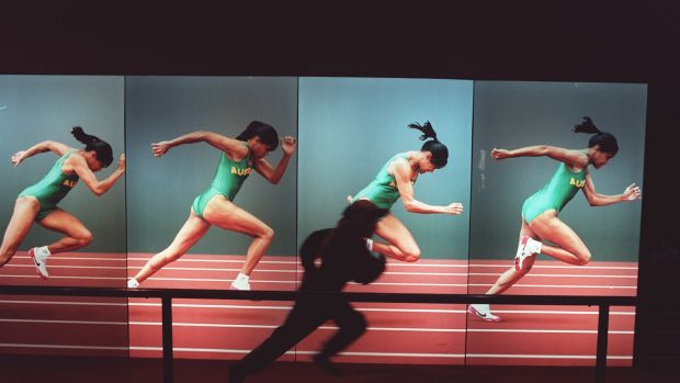 The Cathy Freeman interactive exhibit at the Scienceworks museum pits the public against the Australian runner.
