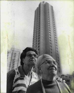 Mrs. Violet Duignan and Mrs. Susie Warden, both of Redfern, at a preview of the of the towers.