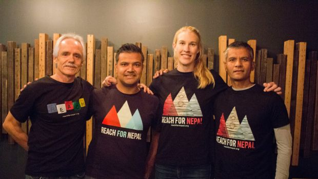 REACH for Nepal ambassador Kim Brennan with co-founders Lou Nulley and .Lachhu Thapa and trek leader Raju Thapa.