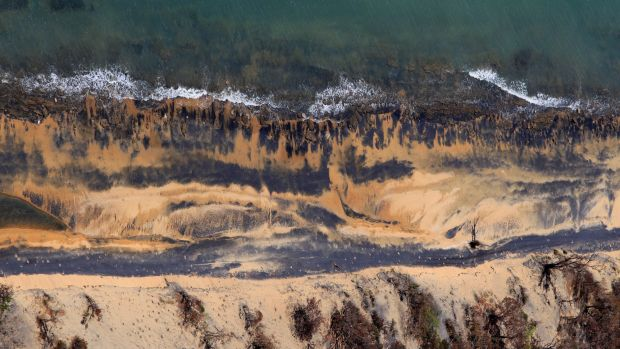 Coal dust on the beaches next to the Abbot Point coal loading facility.