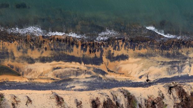 Coal dust on beaches next to Queensland's Abbot Point coal loading facility, which would serve Adani's proposed mine: if ...