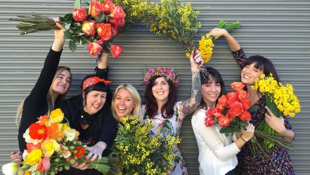 Members of the Little Flowers team Sophie Rothwell, Julie Wall, Carolina Gallo, Emma Marchant, Sarah Redan and Natasha ...