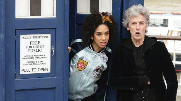 British actor Peter Capaldi, in costume as Doctor Who, and Pearl Mackie as his new companion Bill Potts, pose with a ...