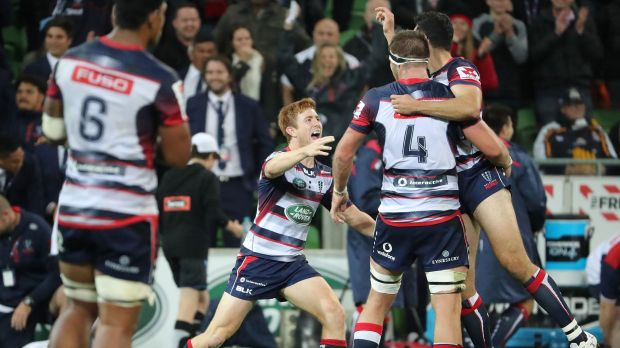 On a Shark hunt: The Rebels scored their first win of the season last round against the Brumbies.