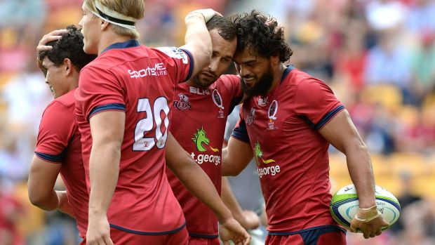 In the hunt: Karmichael Hunt scores a try in Queensland Reds' win over the Southern Kings, continuing to knock on the ...