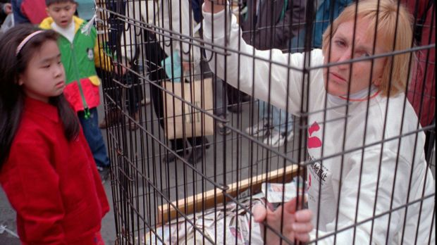 Ingrid Newkirk, president of People for the Ethical Treatment of Animals, sits in a cage at the sprawling Shihlin ...