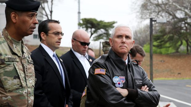 Mike Pence, right, at the truce village of Panmunjom in the Demilitarized Zone, South Korea.