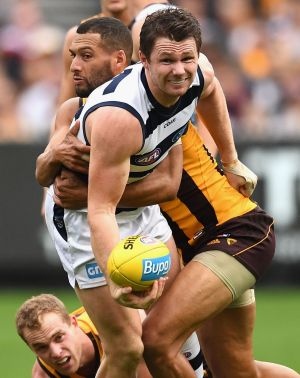 Dangerfield copped an Jordan Roughead knee to the ribs but was soon back on the field,although not with his usual zest.