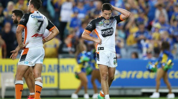Tough to take: Mitchell Moses couldn't hide his disappointment at full-time after the Tigers went down 26-22.