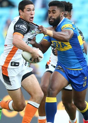 New teammates: Mitchell Moses and Michael Jennings are now on the same team at Parramatta.
