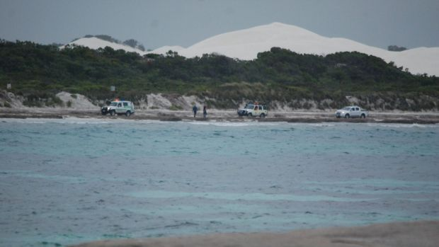 Emergency services at Kelp Beds, a remote surf break, on Monday afternoon.