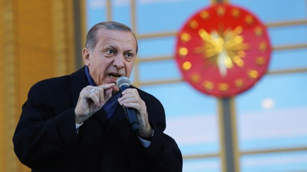 Turkish President Tayyip Erdogan giving a referendum victory speech at the Presidential Palace in Ankara, Turkey.