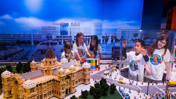 A lego model of the Royal Exhibition Building at the opening of the LEGOLAND Discovery Centre at Chadstone Shopping Centre.