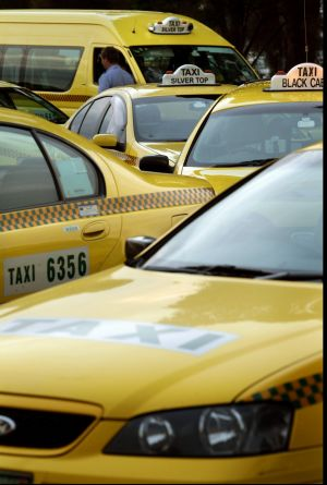 Taxis at the airport.