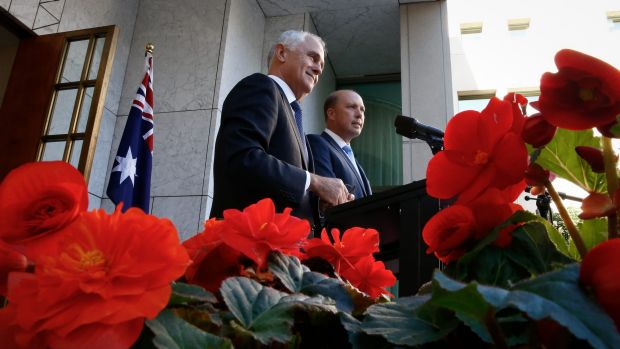 Maximising the political impact: Malcolm Turnbull and Peter Dutton.