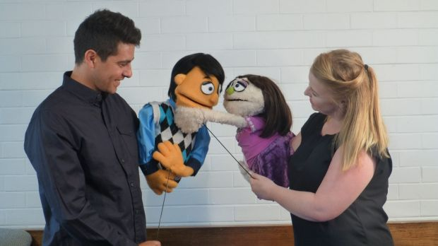 Nick Valois as Princeton and Emma McCormack as Kate Monster in Supa's <i>Avenue Q</i>.