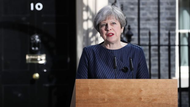 British Prime Minister Theresa May announcing a snap election, to win a mandate for her vision of a 'hard' Brexit.