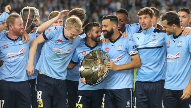 Champions: Sydney FC celebrate with the Premiers' Plate.