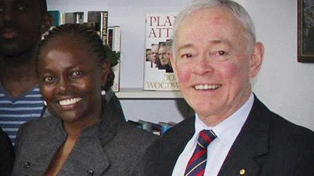 Former Family First senator Bob Day with senator-elect Lucy Gichuhi, who took his place after the High Court ruled his ...