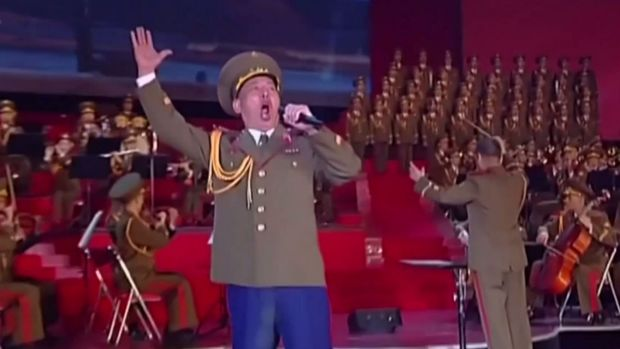The video was shown at a choral performance to mark the 105th birth anniversary of Kim II Sung.