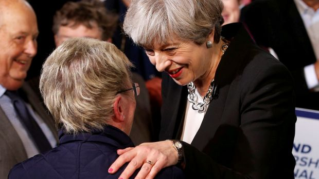 Prime Minister Theresa May meets supporters after delivering her first speech of the campaign on Wednesday.