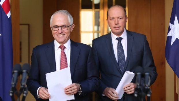 Dutton with Prime Minister Malcolm Turnbull in April.