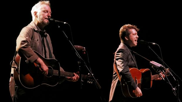 Billy Bragg and Joe Henry singing railroad songs on stage in the Sydney Opera House Concert Hall.