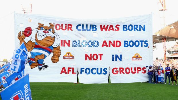 The Bulldogs banner from the preliminary final against Greater Western Sydney.