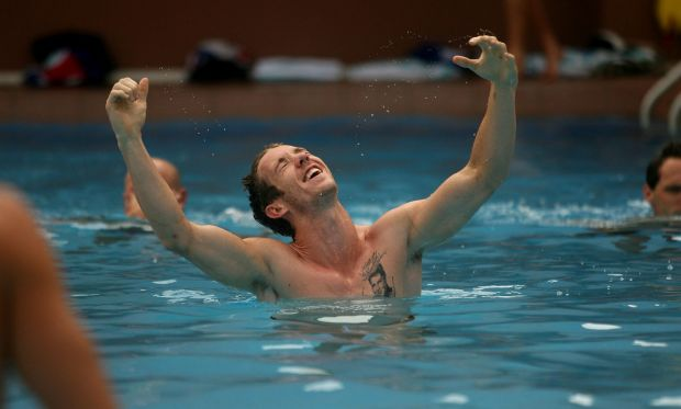Recovery session in Darwin after a NAB Cup pre-season match in 2008.