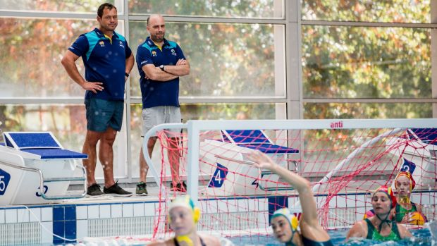 Australian women's water polo team starting their 2020 Olympic games preparation at the AIS. From left, Assitant couch ...