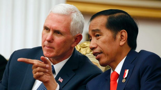 Mike Pence with Indonesian President Joko Widodo, during their meeting in Jakarta on Thursday.