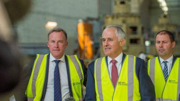 Tasmanian Premier Will Hodgman, Prime Minister Malcolm Turnbull and Energy Minister Josh Frydenberg in Launceston on ...