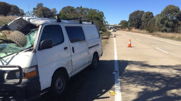 The tyre that hit the white Toyota van on Hume Highway on Wednesday, April 19.?